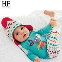 Hello Enjoy baby girl fashion clothes Autumn long sleeve T-shirt animals cute little donkey + pants triangular pattern New 2015