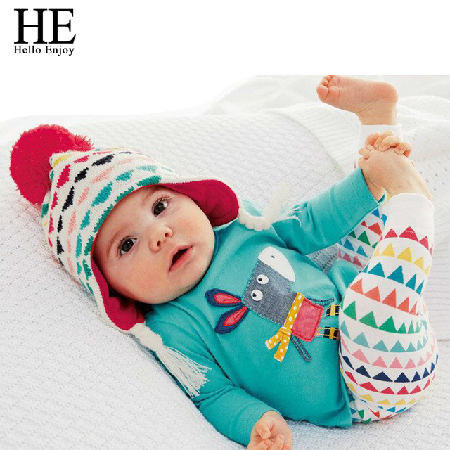 6dc99ea2b0949 US $7.56 40% OFF|HE Hello Enjoy Baby Clothing Sets Unisex Newborn Baby Boy  clothes Spring Cartoon Long Sleeve Tops+Pants Girls Suits Kids 2018 -in ...