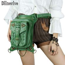 DIINOVIVO Vintage Steampunk Waist Bags Women Punk Rivet Leg Bag Female Travel PU Leather Motorcycle Shoulder Bag Women WHDV1205