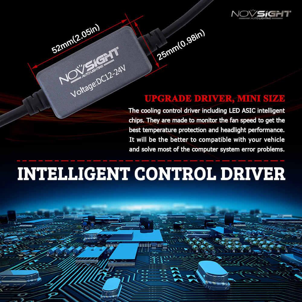 Светодиод Novsight H7, H4, H11, H8, HB3 9005, HB4 9006, светодиодные лампы для авто, 60 Вт, 10000 лм, 12 В, 24 В