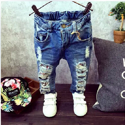 (A338) Детей Сломанные Отверстие Брюки Брюки 2015 Детские Мальчики Девочки Джинсы Модного бренда Осень 2-7Yrs Дети Брюки Детей одежда