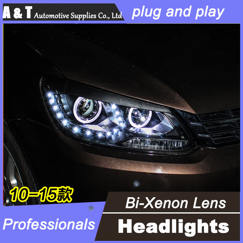 car styling For VW Touran headlight assembly angel eyes 2010-2015 For Touran bi xenon lens h7 with hid kit 2 pcs. 1pc 2 5 hid xenon ultimate bi xenon projector lens parking car styling headlight diy lamp for h1bulb with shrouds h4 h7 socket