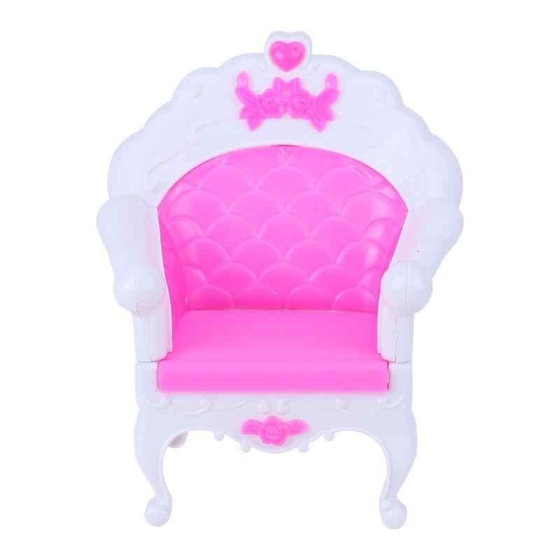 Princesa Sofá Poltrona Móveis Bonecas Bonito Rosa Único Brinquedo Cadeira de Bebé Doce Sonho Boneca Acessório Estimulação Brinquedo Móveis