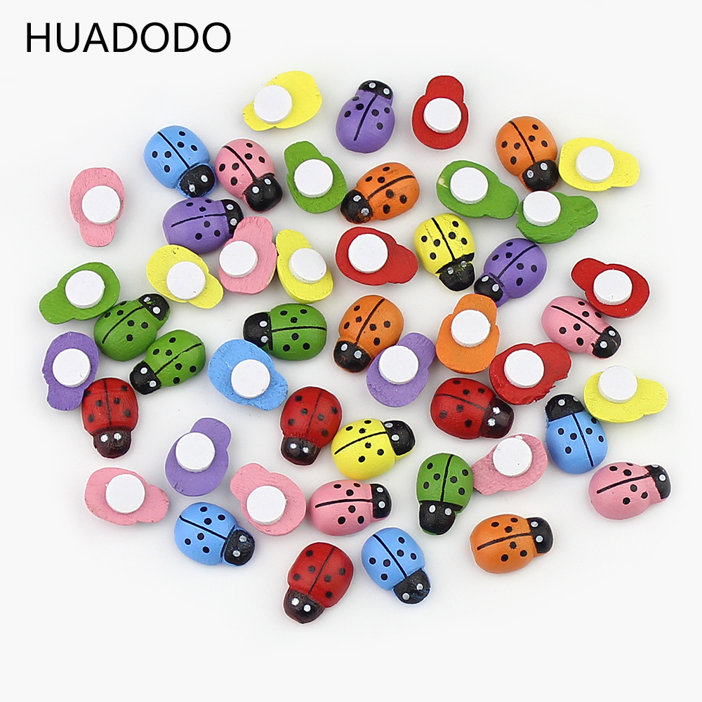 HUADODO 100PCS/Lot Colorful Wooden Ladybug Ladybird Self-adhesive Stickers DIY Craft Scrapbooking Home Party Decoration