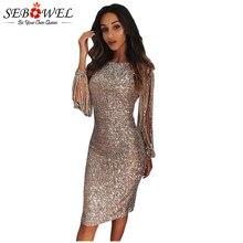 5fb40d3ee5a38 SEBOWEL seksi pullu Elbise Kadın Bodycon gümüş parıltılı Parti Elbise Uzun  Kollu Pullu Kulübü Elbise Altın