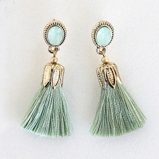 Hot Fashion Color Oval Thread Long Tassel Earrings Rhinestone Drop Statement Fri