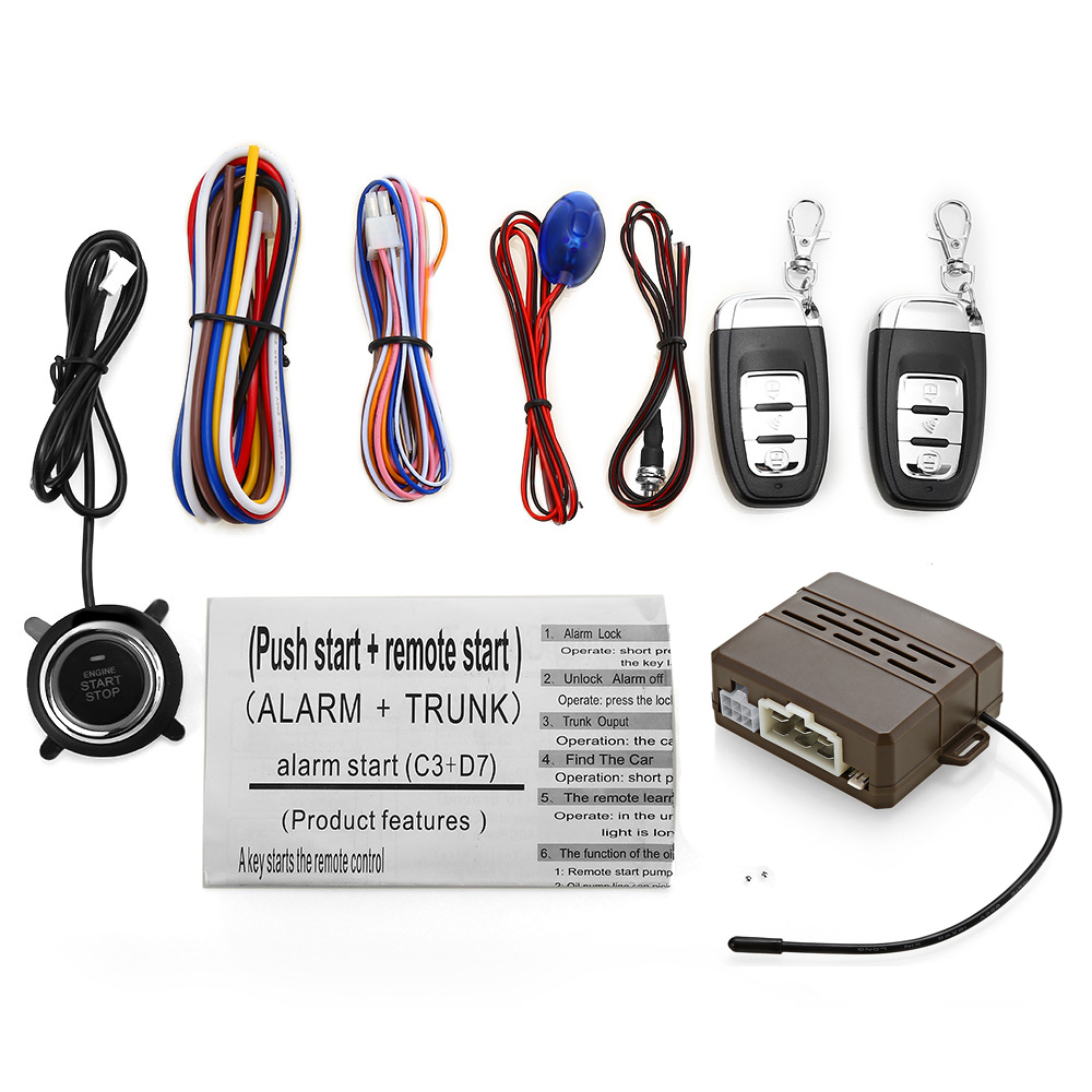 Universal C3 12V Car Anti theft System Audible Visual Alarm One Key Startup Remote Control Main Engine
