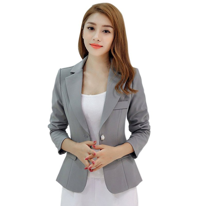 Frauen Herbst Blazer Langarm Single Button Damenjacke Büro OL Slim - Damenbekleidung - Foto 3