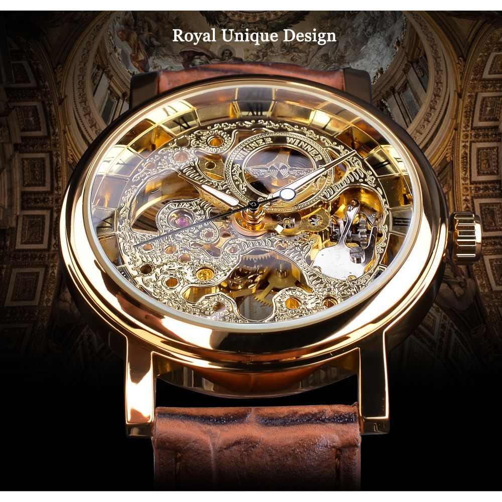 勝者透明ゴールデンケース高級カジュアルデザインブラウンレザーストラップメンズ腕時計トップブランドの高級機械式腕時計スケルトン