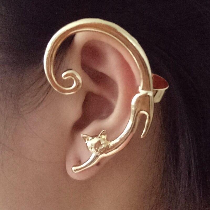 1 Stück Nette Katze Clip Auf Ohrringe Ohr Manschette Ohrringe Für Frauen Ohr Wrap Earcuff Clip Mode Schmuck Geschenk Für Frauen