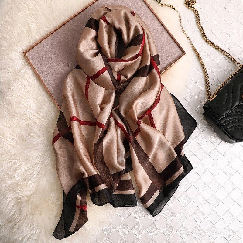 Marque de luxe foulard en soie femmes pashmina foulards châles et enveloppes bandana cheveux écharpe froissé en mousseline de soie hijab mousselin foulard femme