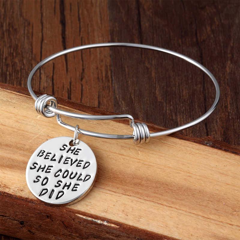 XIAOJINGLING браслет из сплава цинка She Believed She Could So She Did кулон, браслет, ювелирные изделия подарок для Для женщин best друзей на день рождения