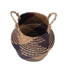 1 Pcs Foldable Handmade Storage Basket Wicker Rattan Straw Flower Pot Planter Laundry Hot Sale
