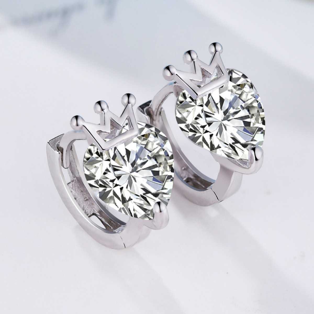 silver small and pure and fresh temperament female silver crown zircon ear clip fashiona ...