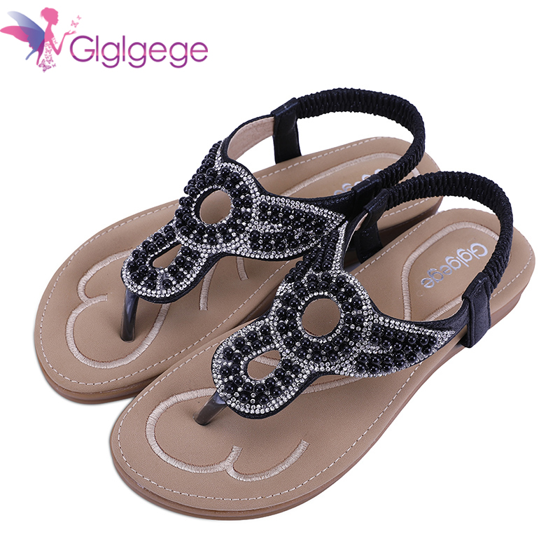 Glglgege 2018 Flat Heel Crystal Sandals Ladies Summer Beach Shoes Women Rome Shoes Flip Flops Sandles Zapatos Mujer Sandalias 2018 summer flat sandals ladies bohemia beach flip flops shoes gladiator women shoes sandles platform zapatos mujer sandalias
