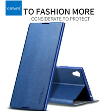 X Level for Sony Xperia XZ XZ1 XZ2 XZ3 Premium XA2 Ultra 10 plus Luxury Leather Business Back Phone Cover Flip Case