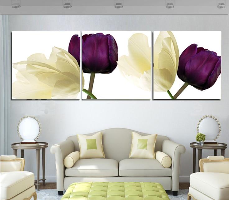 US $12.99 |2017 Viola Gelb Orchideen Dreifachen Ölgemälde Auf Der Wand  Leinwandbilder Für Wohnzimmer Unframed Große HD Modulare bilder in 2017  Viola ...