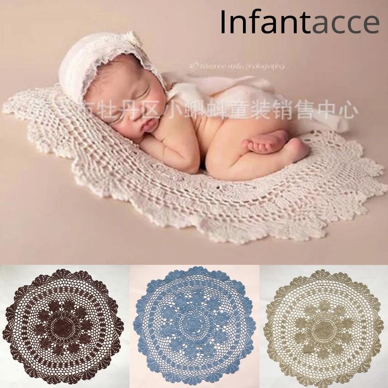 55cm Circle Crochet Lace Cotton Blanket Newborn Photography Props Basket Layer Infant Basket Filler Stuffer Baby Photo Prop