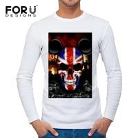 FORUDESIGNS Hip Hop Street T-shirt Wholesale Fashion t Shirts Men Summer Long Sleeve Design 3D Skull Printing Casual Tee Shirts