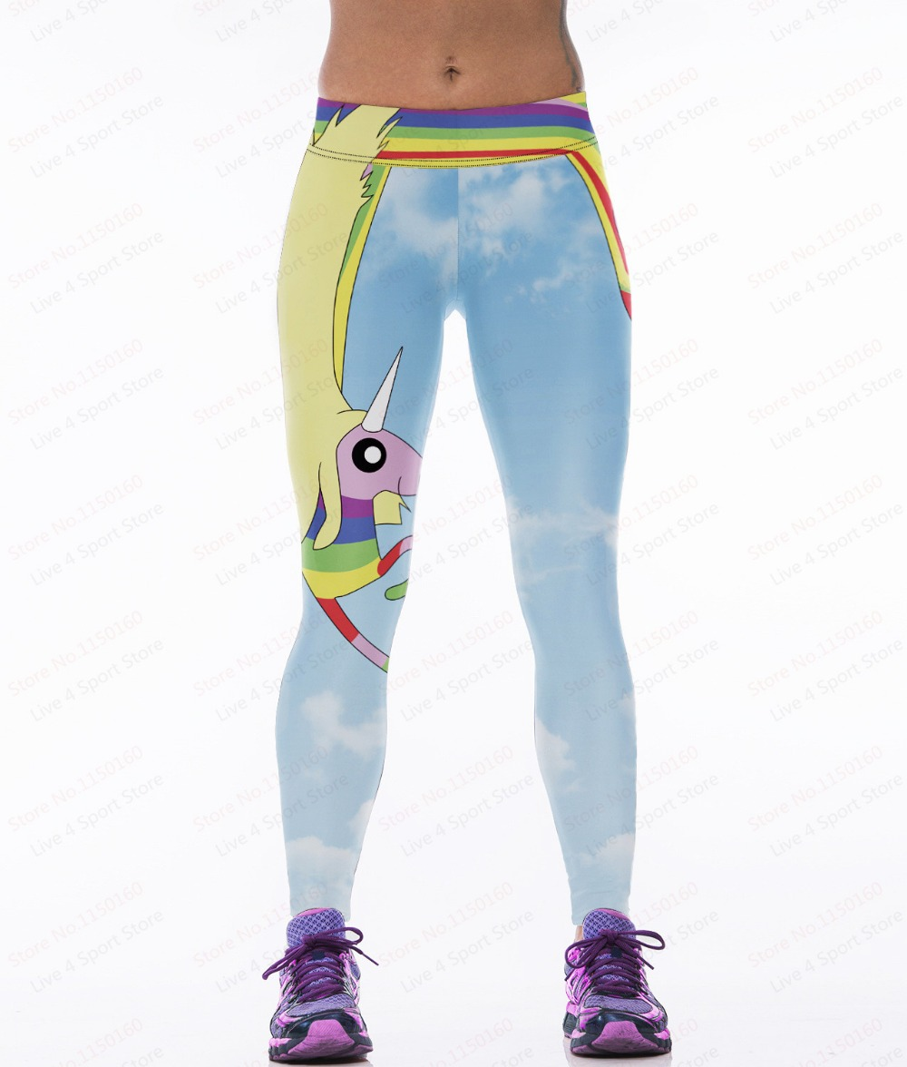 2af97faf688795 Sky Blue Yoga Pants Unicorn Rainbow Printing Female Sport Light Blue Women  Leggings Body-Building Trousers Printing Tights