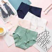 4pcs/lot Lace Panties Women Fashion Cozy Lingerie Pretty Briefs High Quality Cotton Middle Waist Cute Underwear