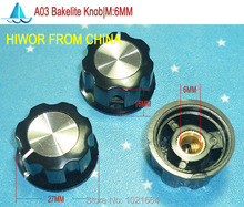 (25pcs/lot) A03 Bakelite Knob, 27MMxH16MM Mounting Hole 6MM, For Rotary potentiometer & Encoder & Rotary Switch