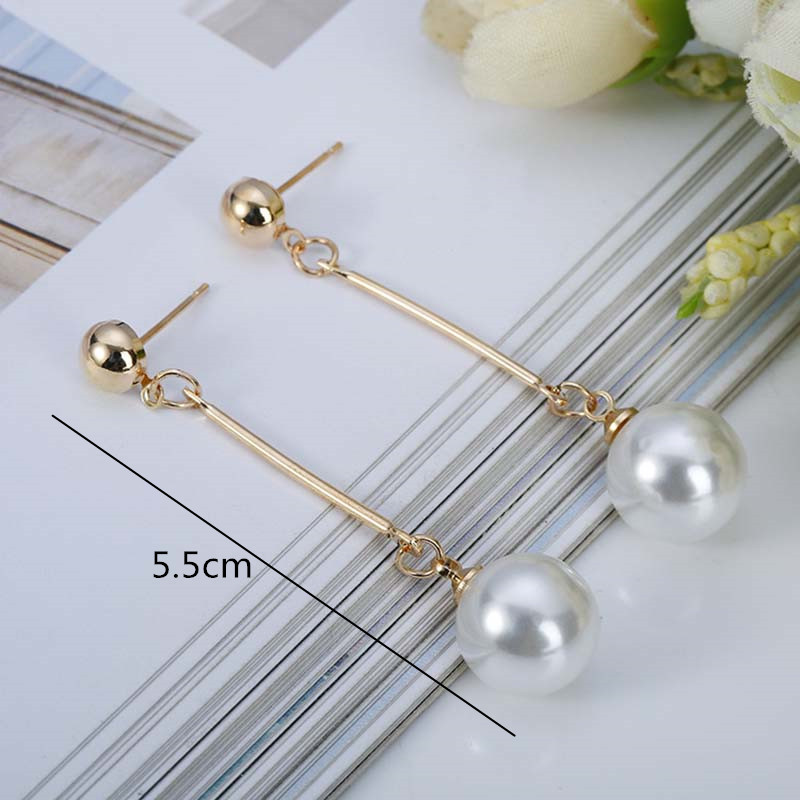 Korean Simulated Pearl Long Tassel Bar Drop Earrings For Women OL Style Sweet Dangle Brincos Party Jewelry Gift Wholesale EB478 7