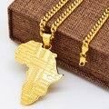 Banhado A ouro Africa mapa pingentes colares de Alta Qualidade Moda Hiphop longos colares de Cadeia para homens jóias de ouro 2017