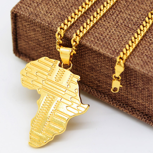 JHNBY Gold color Plated Africa map pendants necklaces High Quality