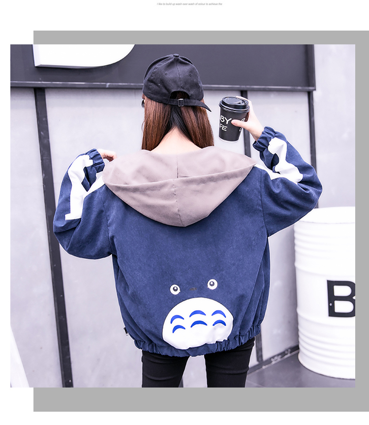 2019 Autumn Jacket Womens Streetwear Patchwork Hooded Totoro Jackets Kawaii Basic Coats harajuku Outerwear chaqueta mujer 63