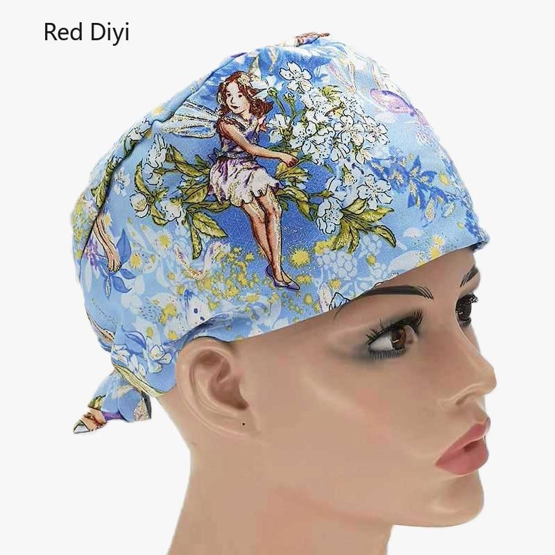 Nursing dust Hat laboratory work hat Unisex scrub caps Beauty work hats Pet doctor Printing gourd hats