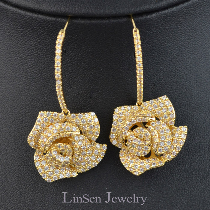 Luxury Micro Pave Aaa Zircon Rose Flower Earrings For Women High Quality Fashion Gift Party Wedding In Drop From Jewelry Accessories On