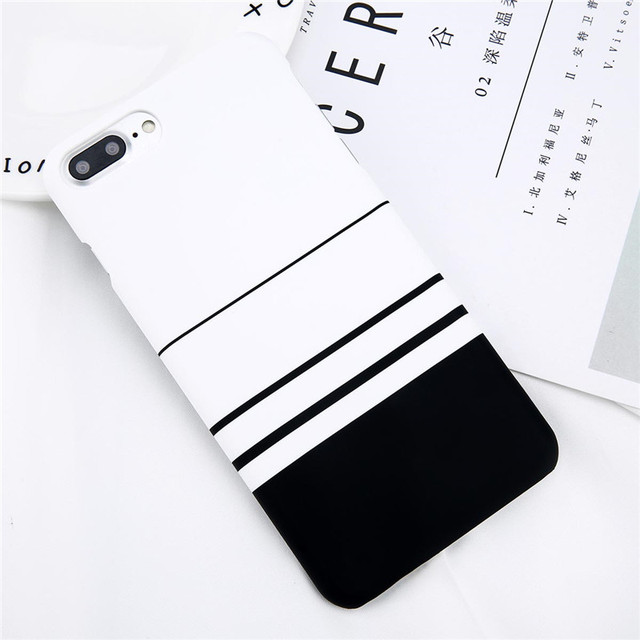 Lovebay Phone Case For iPhone 8 7 6 6s Plus 5 5s Fashion Black and White Stripes Hard Plastic Protect Cover Cases For iPhone 8  3