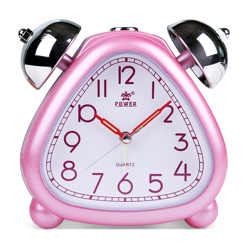 POWER Alarm Clock Twin Bell Carton Non-Ticking Quartz Music Alarm - Dekorasi rumah - Foto 2