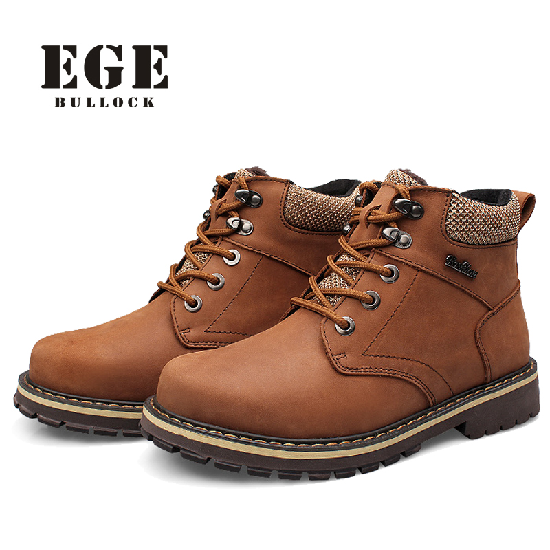 100%High Quality Genuine Leather Men Winter Boots Casual Men Motorcycle Boots Fashion Snow Shoes Warmest Ankle Boots Men warmest genuine leather snow boots size 37 50 brand russian style men winter shoes 8815