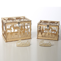 2 Sets Wedding Card Box Decorations Vintage Card Box with Lock DIY Money Box Wooden Gift Boxes for Xmas Party Decor Supplies