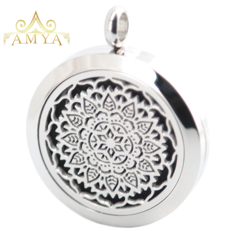 10pcs Flower Aromatherapy Essential Oil Surgical Stainless Steel Perfume Diffuser Locket Necklace Pendant Free 20pcs Pads