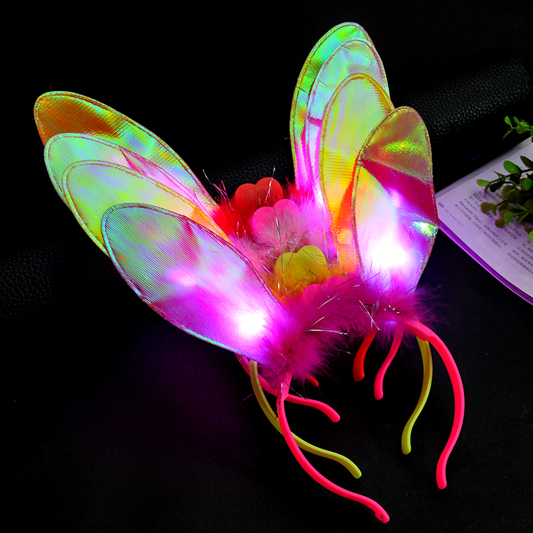 Led Flashing Rabbit Ears Headband Flash Led Hair Bands Bow Light Up