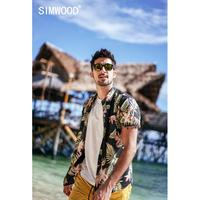 SIMWOOD 2019 summer new Hawaii print shirt men 100% cotton high quality brand clothing plus size short sleeve shirts 190267