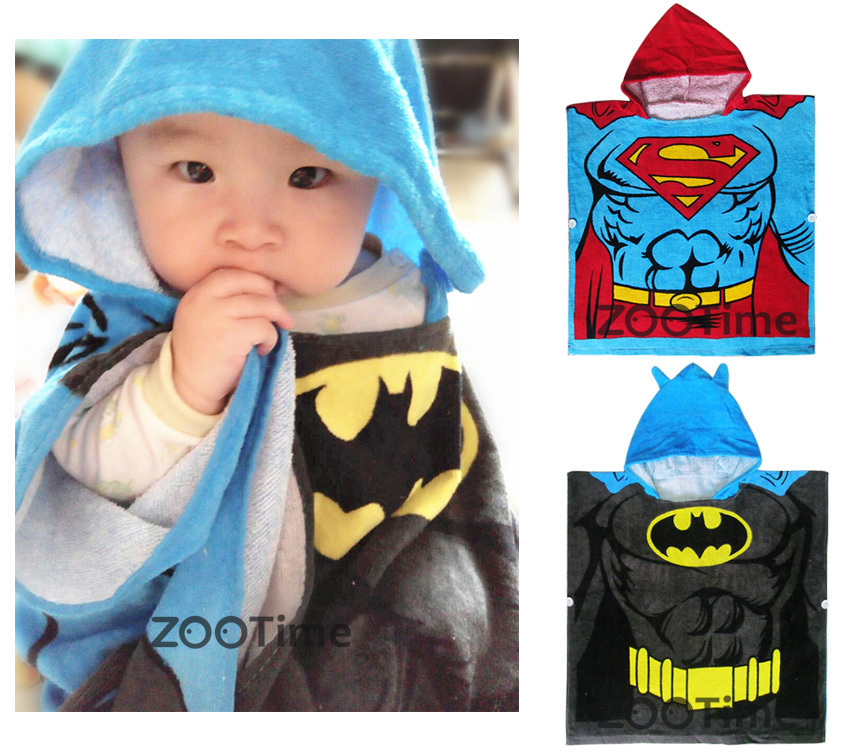 100% cotton Children batman Hooded Bath Towel Kids Superman Beach Cloak Towel creative sleeveless dress bath beach towel deep pink