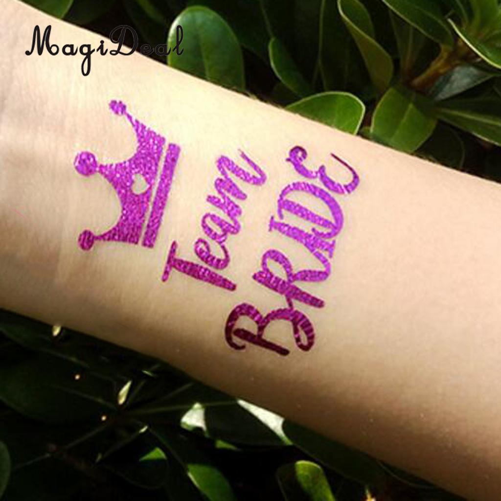 MagiDeal 10Pcs/Lot Purple Team Bride Tribe Temporary Tattoos Wedding ...