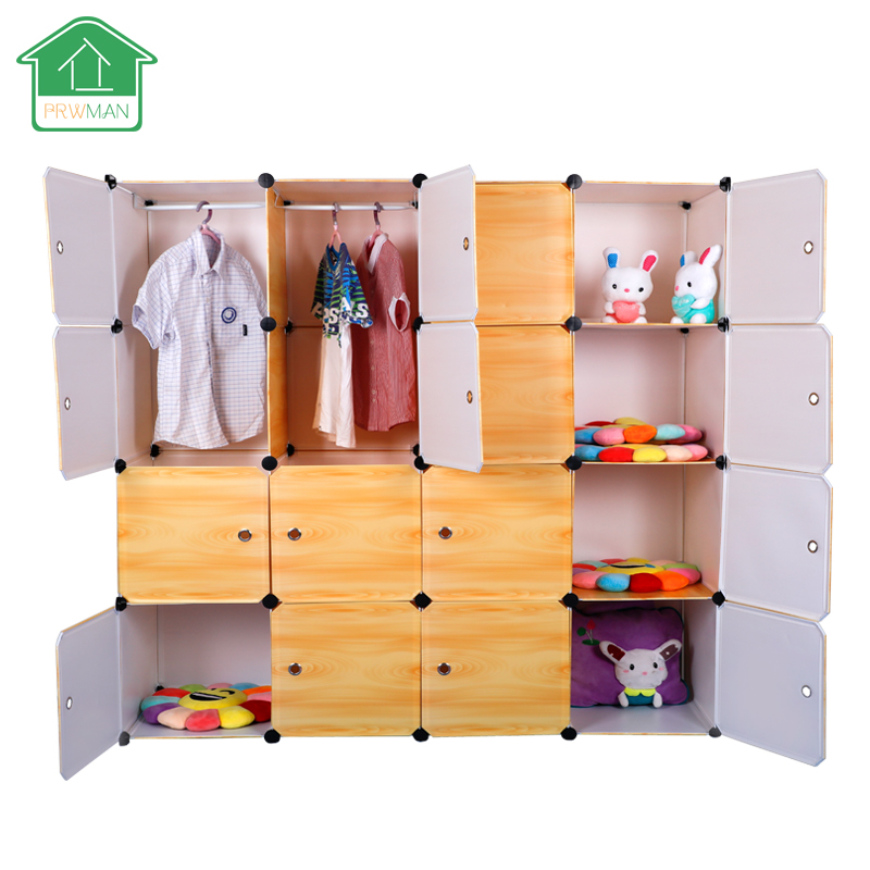 PRWMAN 16 Cube 2 Hooks Yellow -Wood Grain DIY Magic Piece of Resin Storage Cabinets Bedroom Wardrobe Furniture Student Wardrobe