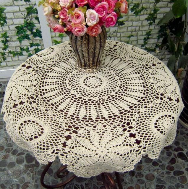 Vintage Handmade White Crochet Tablecloth Round Table