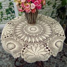 Vintage mantel hecho a mano De ganchillo blanco Mesa Redonda café mantel para Mesa De té Toalha De Mesa