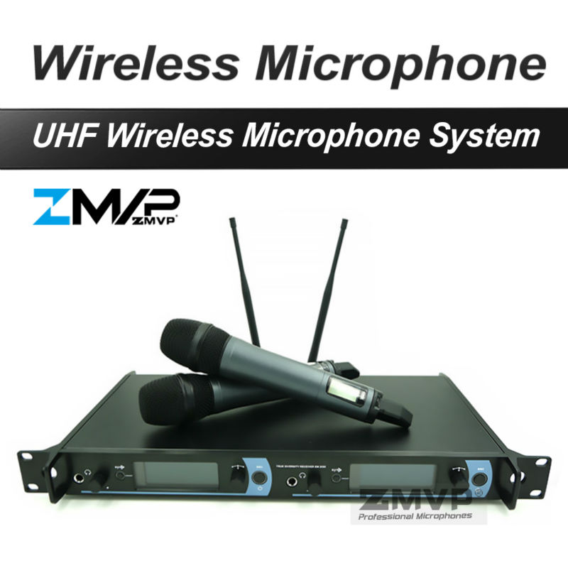 Free shipping! Professional UHF Wireless Microphone Monitor System with Dual Handheld Transmitter Microfone Mike  professional wireless microphone system wr 208 dual mic with receiver mike for karaoke microfone sem fio microfono inalambrico