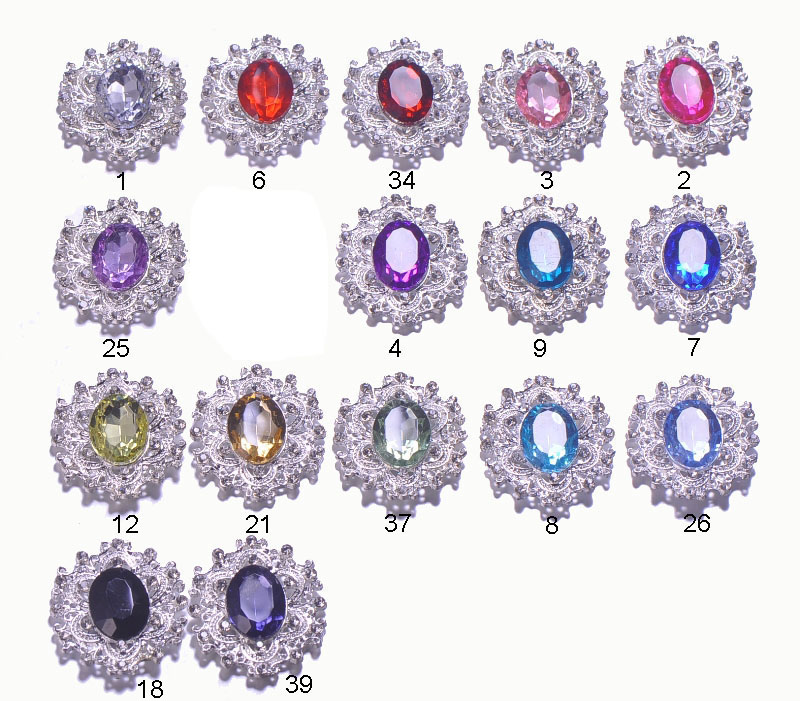 J0466 30mmx34mm rhinestone metal button silver or light gold color flat back acrylic beads in