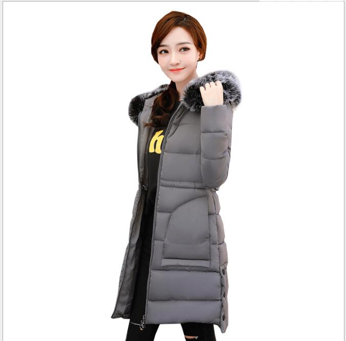 2017 autumn and winter season new Korean version of the cotton clothing Slim thin coat  jacket female warm waist long down women free shipping 2016 autumn and winter explosion models men korean version of slim long warm hooded coat