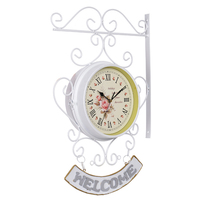 European Minimalist White Wall Clock Double Sided Wall Clock Modern Design Creative Wrought Iron Home Living Room Study Decorate