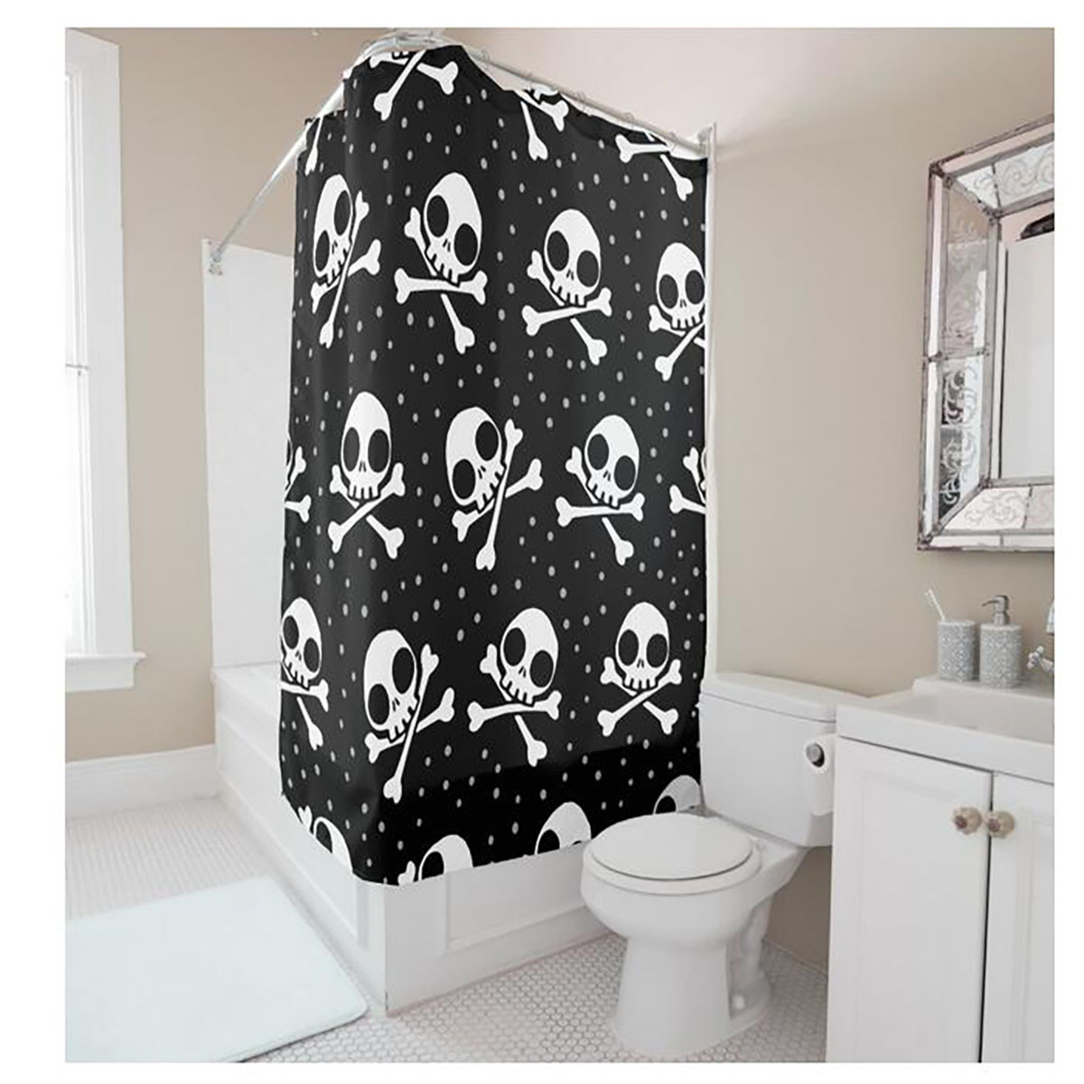 With creative shower curtains white and black creative shower curtain - Creative Personalized Skull Small Dots Digital Printing White Black Shower Curtain Polyester Waterproof Bathroom Shower Curtain