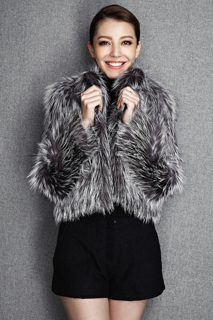 2015 New Arrival 100% Natural Silver Fox Fur Knitted Coat, Women's Real Fox Fur Outerwear SU-1521 EMS Free Shipping 2